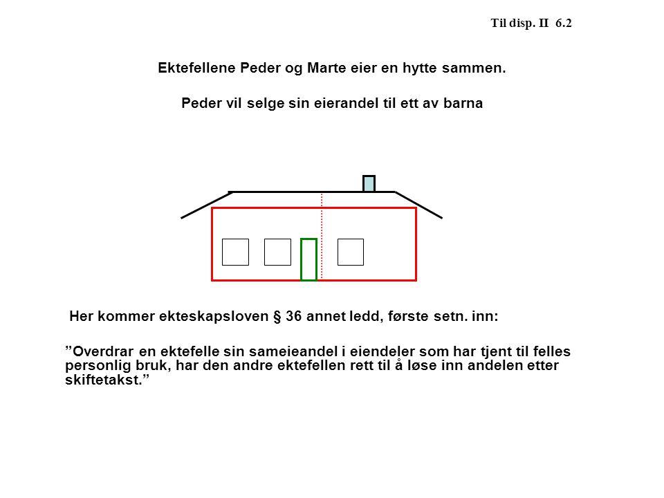 Til disp. II 6.2 Ektefellene Peder og Marte eier en hytte sammen. Peder vil selge sin eierandel til ett av barna Her kommer ekteskapsloven § 36 annet