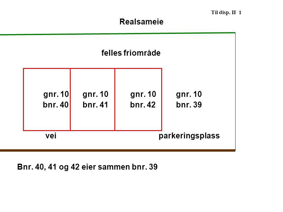 Til disp. II 1 Realsameie felles friområde gnr. 10 gnr. 10gnr. 10 gnr. 10 bnr. 40 bnr. 41 bnr. 42 bnr. 39 veiparkeringsplass Bnr. 40, 41 og 42 eier sa
