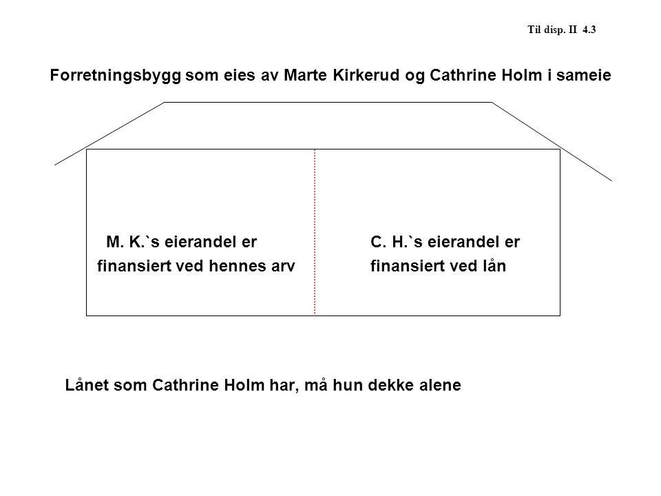 Til disp. II 4.3 Forretningsbygg som eies av Marte Kirkerud og Cathrine Holm i sameie M. K.`s eierandel erC. H.`s eierandel er finansiert ved hennes a