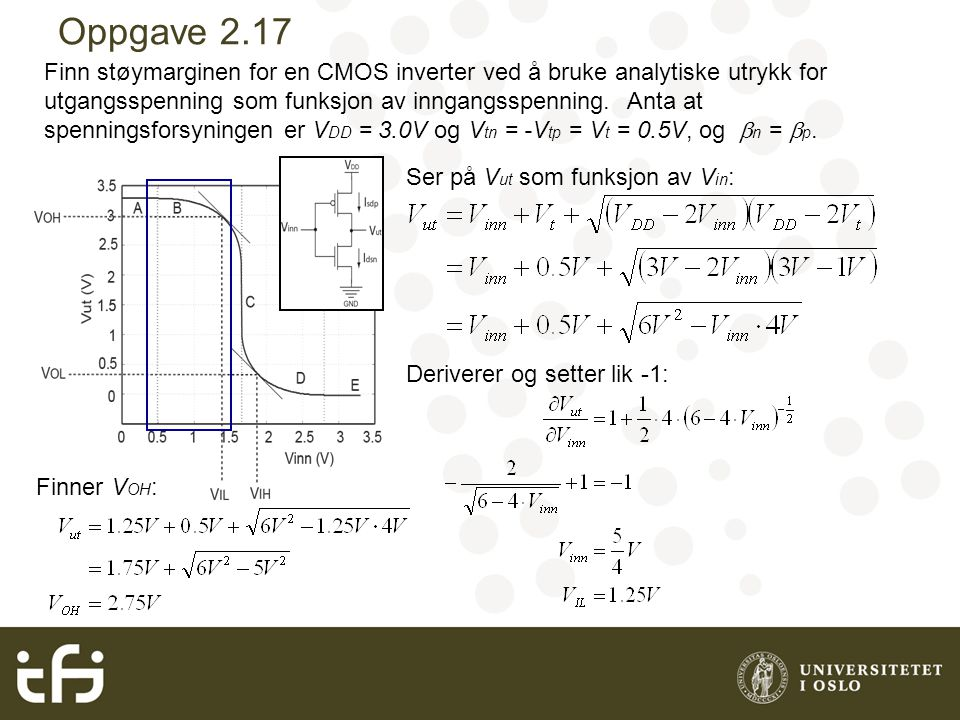 Oppgave 2.17 Finn støymarginen for en CMOS inverter ved å bruke analytiske utrykk for utgangsspenning som funksjon av inngangsspenning.