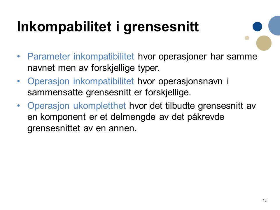 18 Inkompabilitet i grensesnitt Parameter inkompatibilitet hvor operasjoner har samme navnet men av forskjellige typer. Operasjon inkompatibilitet hvo