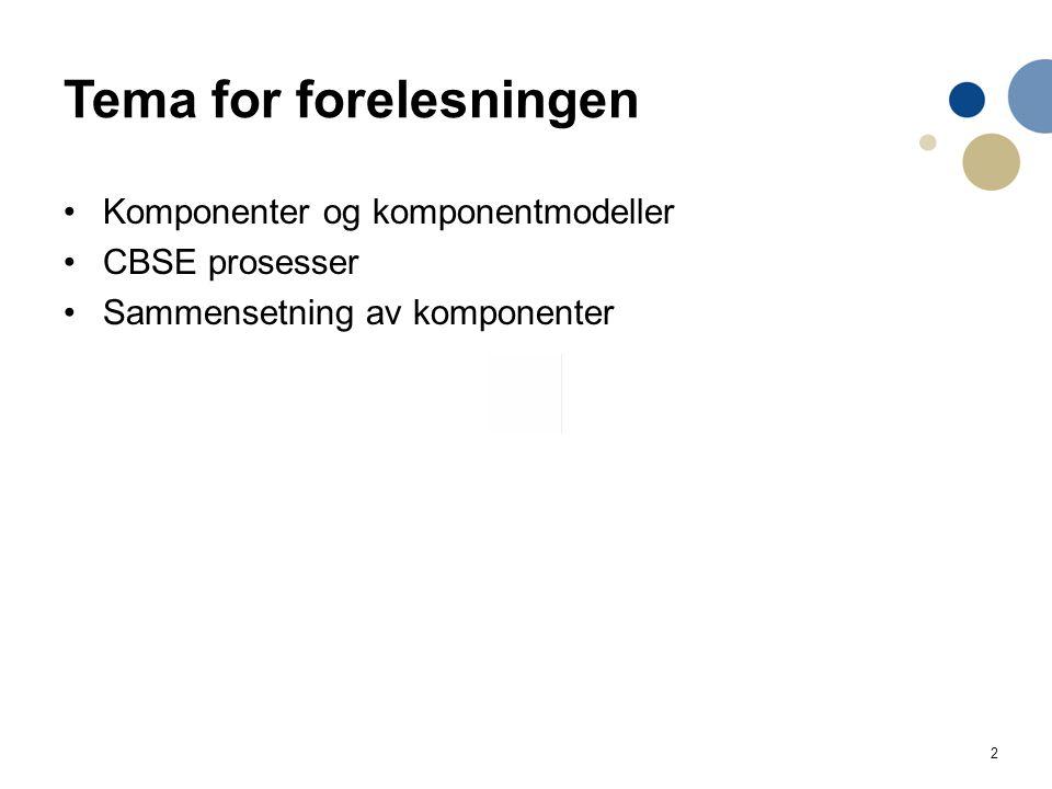 2 Tema for forelesningen Komponenter og komponentmodeller CBSE prosesser Sammensetning av komponenter