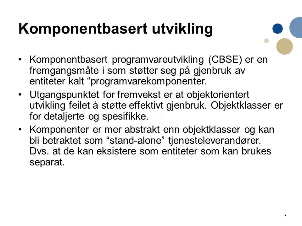 """3 Komponentbasert utvikling Komponentbasert programvareutvikling (CBSE) er en fremgangsmåte i som støtter seg på gjenbruk av entiteter kalt """"programva"""