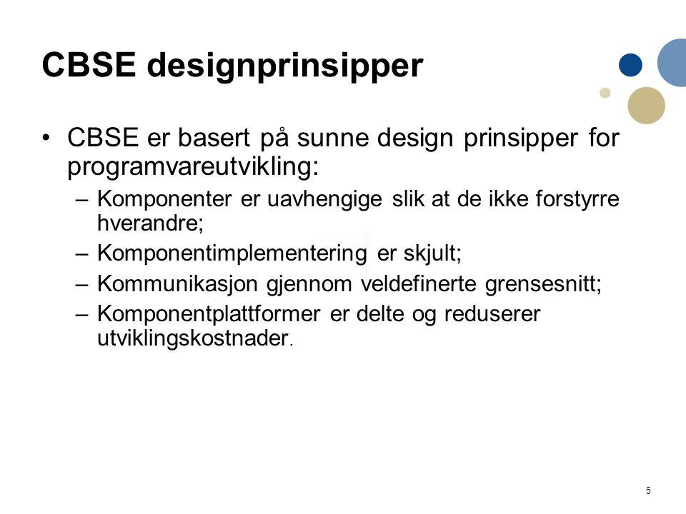 5 CBSE designprinsipper CBSE er basert på sunne design prinsipper for programvareutvikling: –Komponenter er uavhengige slik at de ikke forstyrre hvera