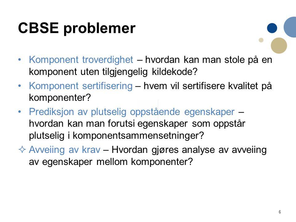 6 CBSE problemer Komponent troverdighet – hvordan kan man stole på en komponent uten tilgjengelig kildekode? Komponent sertifisering – hvem vil sertif