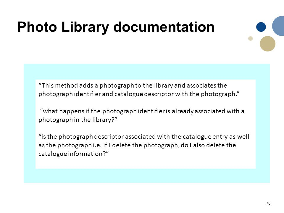 """70 Photo Library documentation """"This method adds a photograph to the library and associates the photograph identifier and catalogue descriptor with th"""