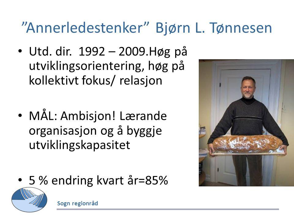 """""""Annerledestenker"""" Bjørn L. Tønnesen Utd. dir. 1992 – 2009.Høg på utviklingsorientering, høg på kollektivt fokus/ relasjon MÅL: Ambisjon! Lærande orga"""