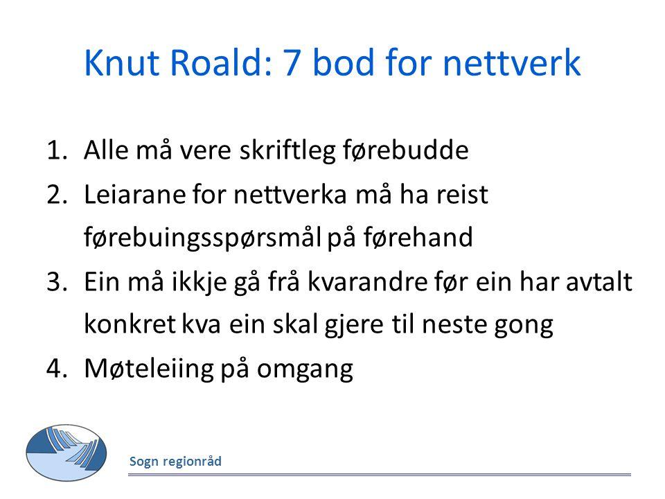 Knut Roald: 7 bod for nettverk 1.Alle må vere skriftleg førebudde 2.Leiarane for nettverka må ha reist førebuingsspørsmål på førehand 3.Ein må ikkje g