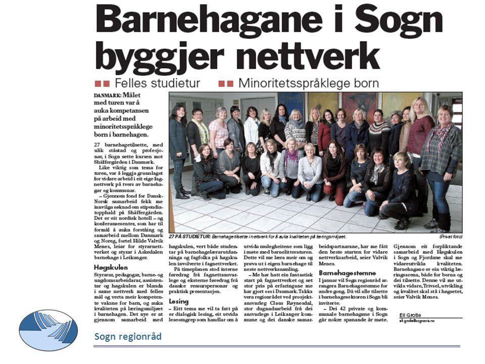 Effekten av regionale fagnettverk i barnehagane i Sogn (2010/2012-) Det som skjer no er den største utviklinga vi har opplevd i barnehagesektoren sidan 1980 .