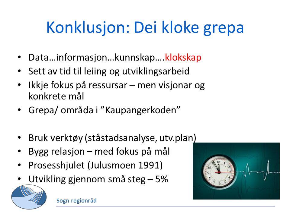 Konklusjon: Dei kloke grepa Data…informasjon…kunnskap….klokskap Sett av tid til leiing og utviklingsarbeid Ikkje fokus på ressursar – men visjonar og