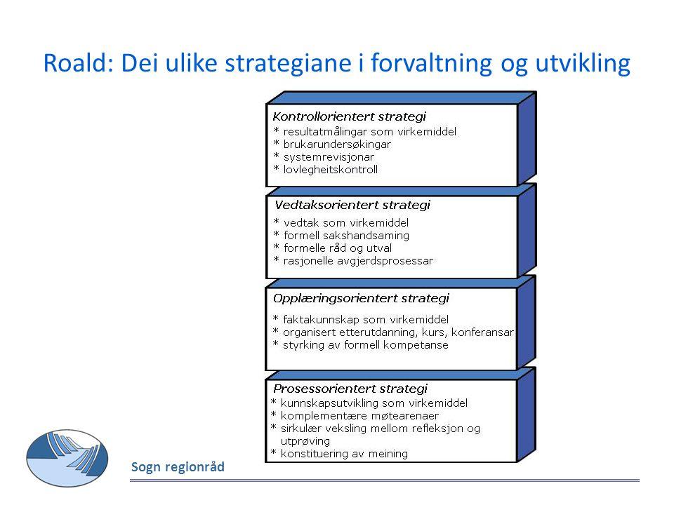 Roald: Dei ulike strategiane i forvaltning og utvikling Sogn regionråd