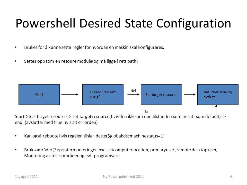 11. april 2011Ny Powerpoint mal 20116 Powershell Desired State Configuration Brukes for å kunne sette regler for hvordan en maskin skal konfigureres.