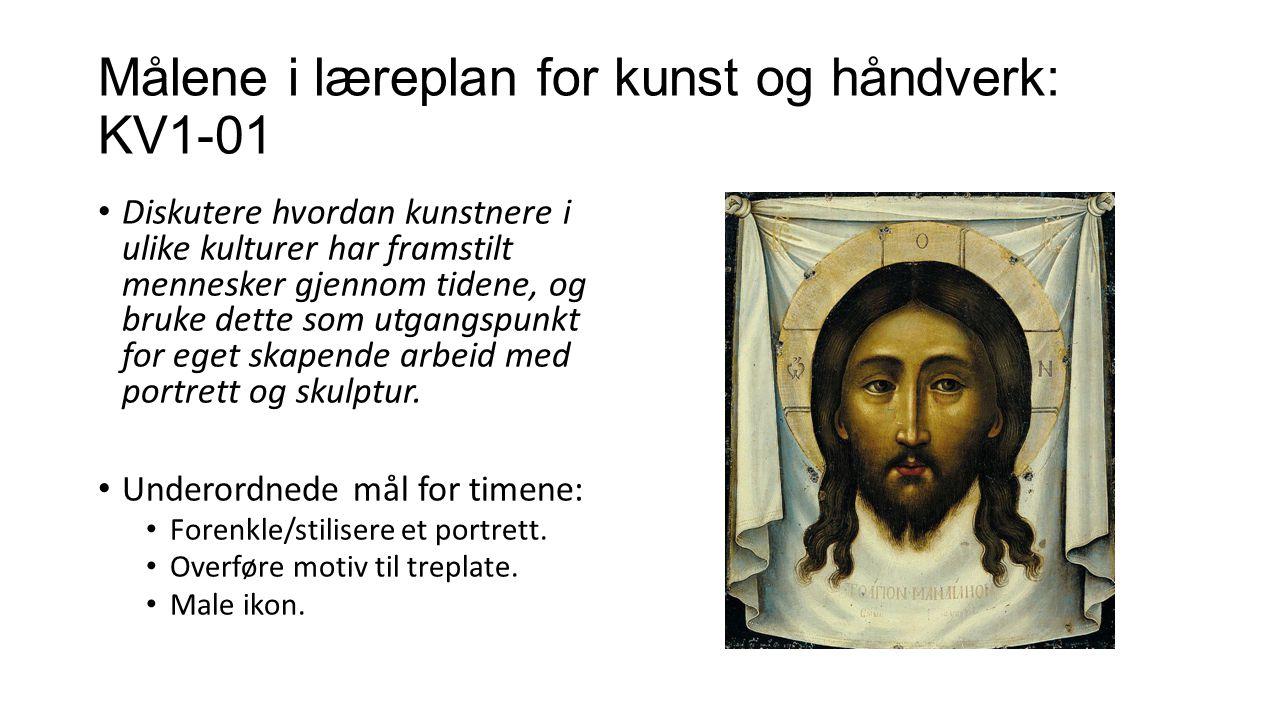 Målene i læreplan for kunst og håndverk: KV1-01 Diskutere hvordan kunstnere i ulike kulturer har framstilt mennesker gjennom tidene, og bruke dette so