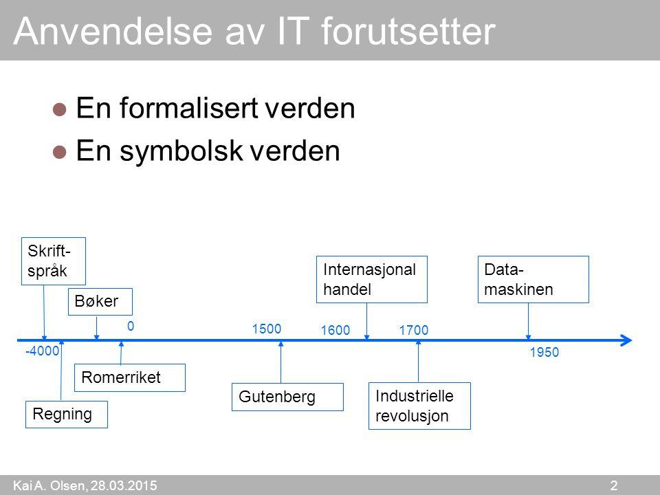 Kai A. Olsen, 28.03.2015 2 Anvendelse av IT forutsetter En formalisert verden En symbolsk verden Industrielle revolusjon Gutenberg Romerriket Internas