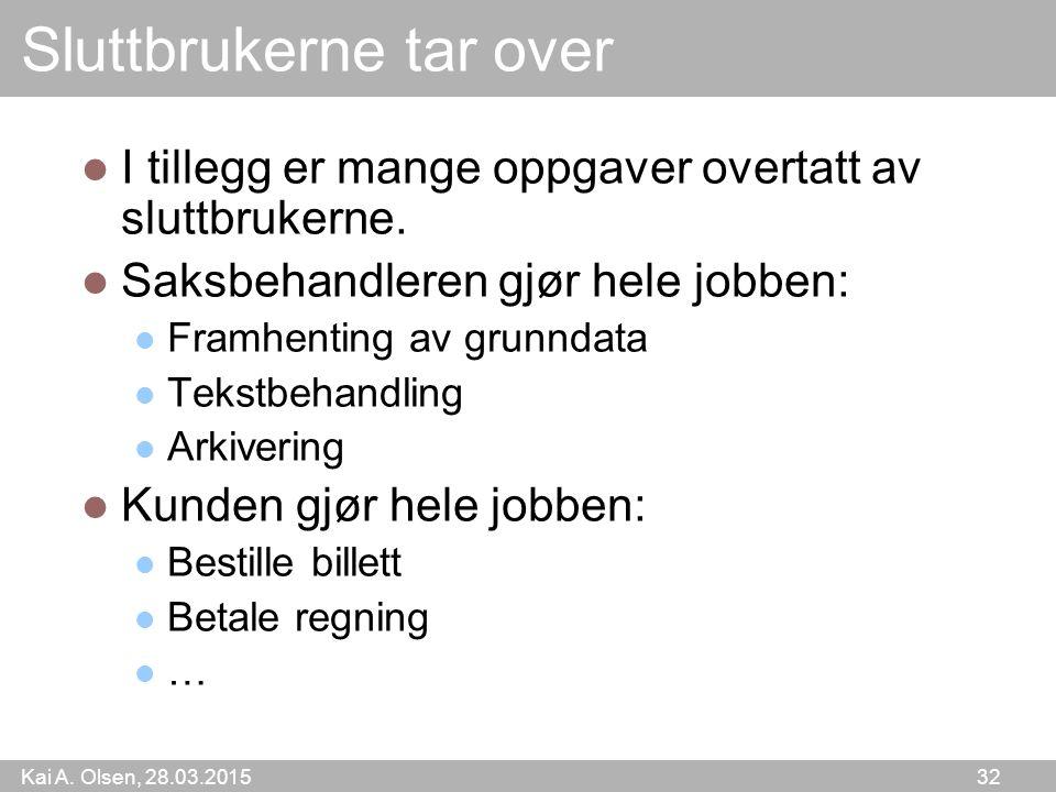 Kai A. Olsen, 28.03.2015 32 Sluttbrukerne tar over I tillegg er mange oppgaver overtatt av sluttbrukerne. Saksbehandleren gjør hele jobben: Framhentin