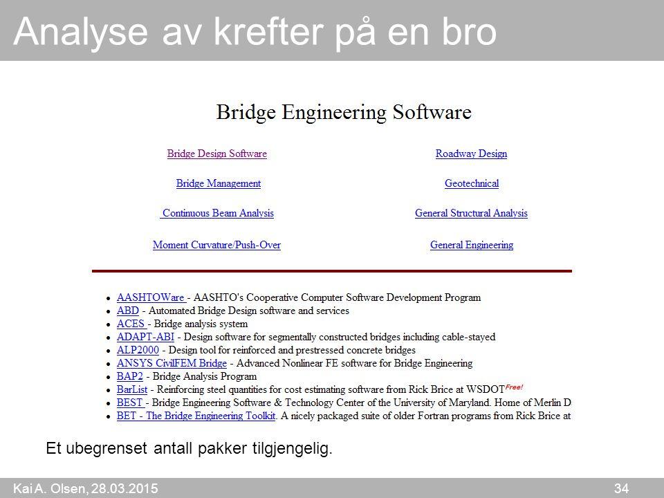Kai A. Olsen, 28.03.2015 34 Analyse av krefter på en bro Et ubegrenset antall pakker tilgjengelig.