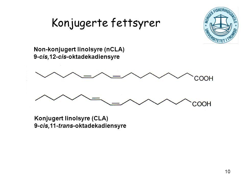 10 Konjugerte fettsyrer Non-konjugert linolsyre (nCLA) 9-cis,12-cis-oktadekadiensyre Konjugert linolsyre (CLA) 9-cis,11-trans-oktadekadiensyre