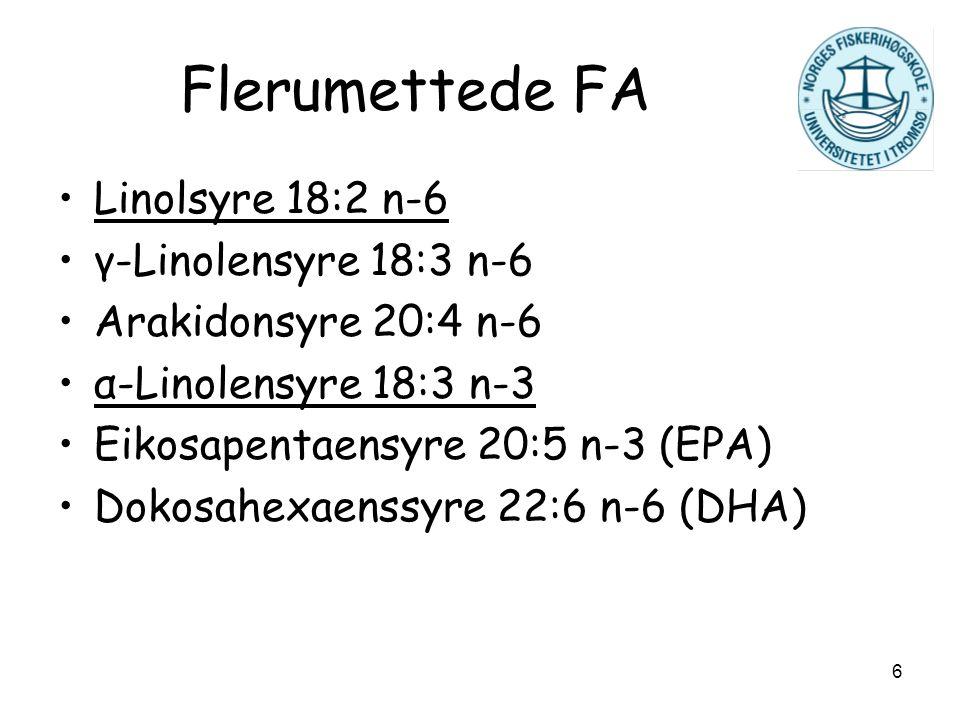 6 Flerumettede FA Linolsyre 18:2 n-6 γ-Linolensyre 18:3 n-6 Arakidonsyre 20:4 n-6 α-Linolensyre 18:3 n-3 Eikosapentaensyre 20:5 n-3 (EPA) Dokosahexaen