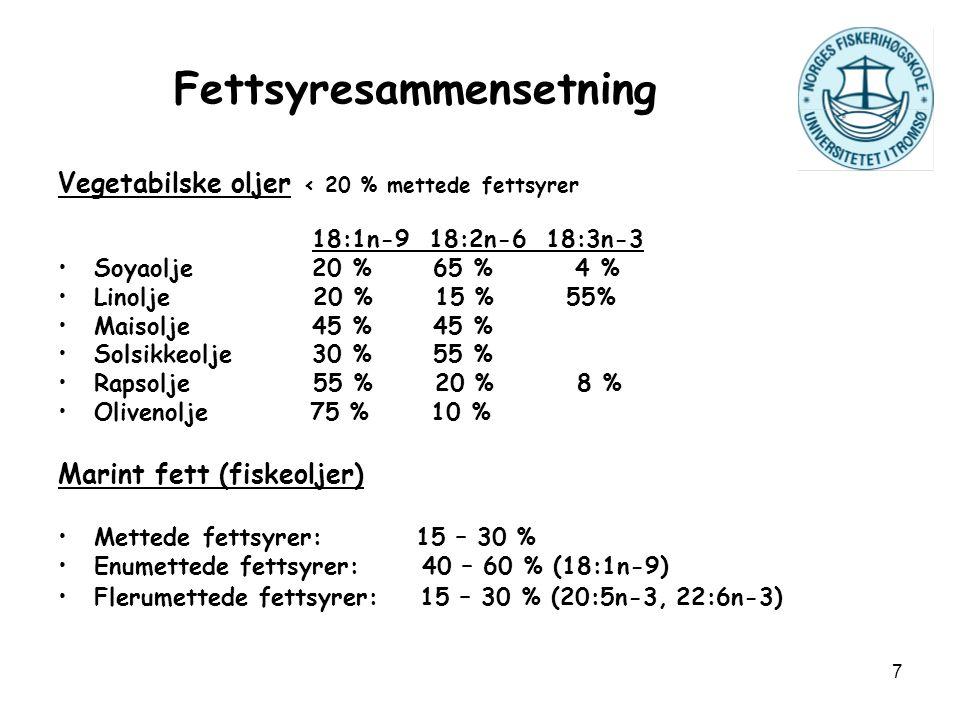 7 Fettsyresammensetning Vegetabilske oljer < 20 % mettede fettsyrer 18:1n-9 18:2n-6 18:3n-3 Soyaolje 20 % 65 % 4 % Linolje 20 % 15 % 55% Maisolje 45 %