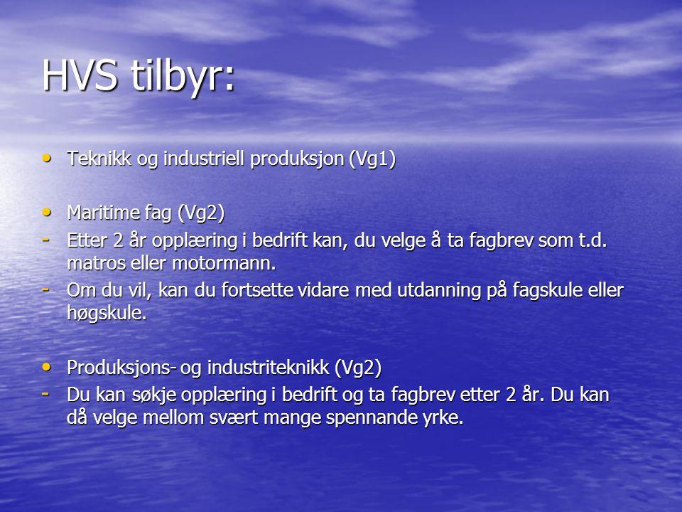 HVS tilbyr: Teknikk og industriell produksjon (Vg1) Teknikk og industriell produksjon (Vg1) Maritime fag (Vg2) Maritime fag (Vg2) - Etter 2 år opplæri
