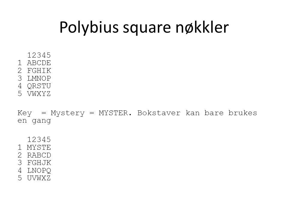 Polybius square nøkkler 12345 1 ABCDE 2 FGHIK 3 LMNOP 4 QRSTU 5 VWXYZ Key = Mystery = MYSTER.