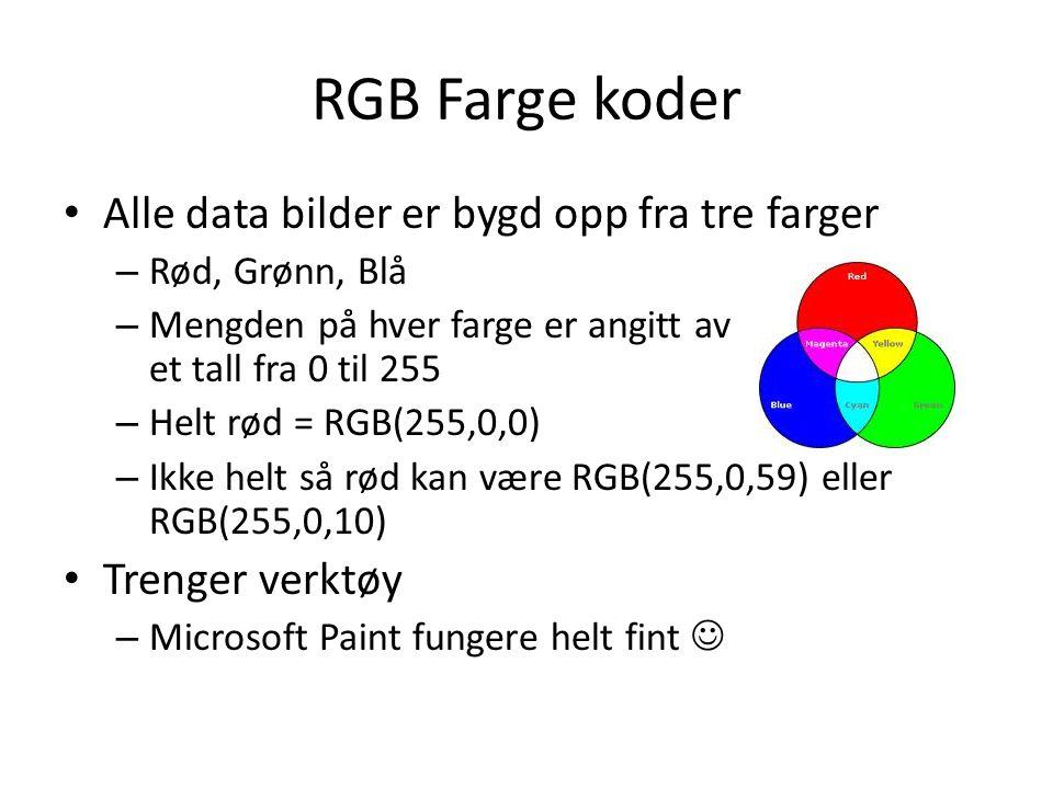 RGB Farge koder Alle data bilder er bygd opp fra tre farger – Rød, Grønn, Blå – Mengden på hver farge er angitt av et tall fra 0 til 255 – Helt rød = RGB(255,0,0) – Ikke helt så rød kan være RGB(255,0,59) eller RGB(255,0,10) Trenger verktøy – Microsoft Paint fungere helt fint