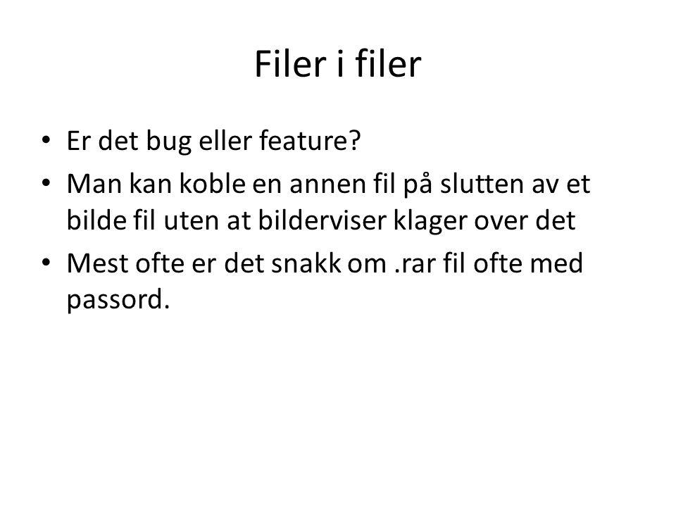 Filer i filer Er det bug eller feature.