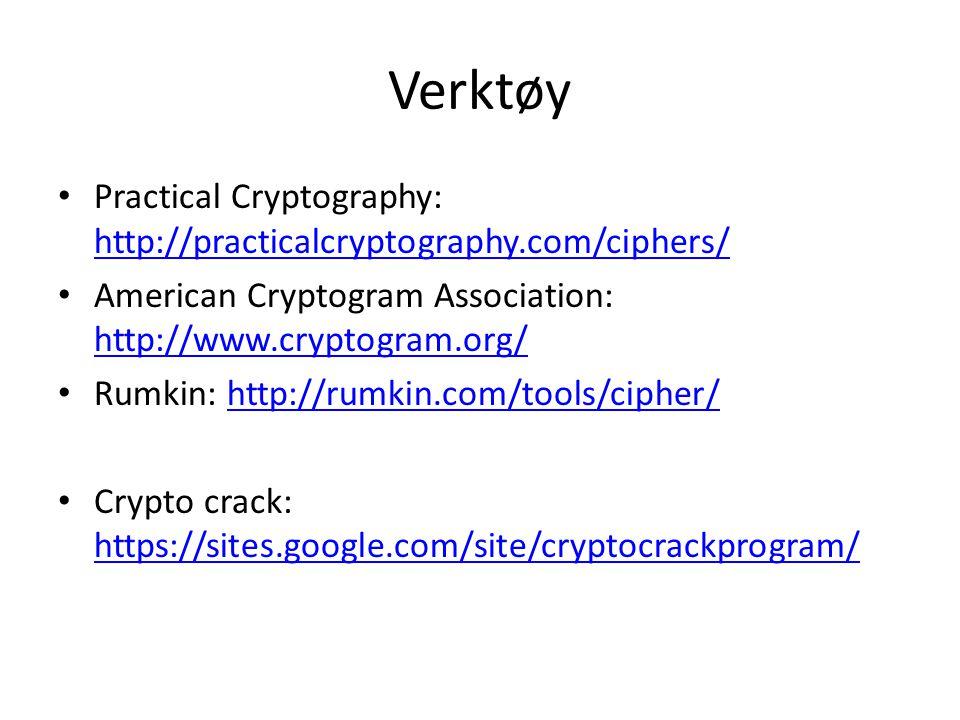 Verktøy Practical Cryptography: http://practicalcryptography.com/ciphers/ http://practicalcryptography.com/ciphers/ American Cryptogram Association: http://www.cryptogram.org/ http://www.cryptogram.org/ Rumkin: http://rumkin.com/tools/cipher/http://rumkin.com/tools/cipher/ Crypto crack: https://sites.google.com/site/cryptocrackprogram/ https://sites.google.com/site/cryptocrackprogram/
