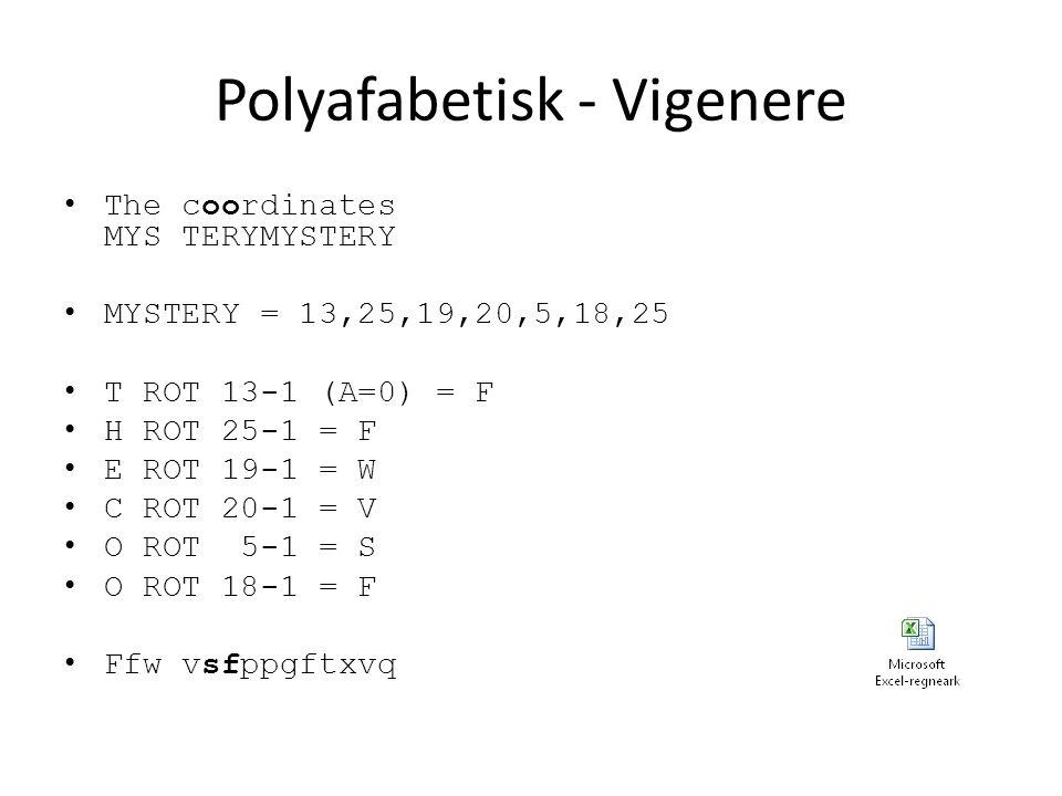 Polyafabetisk - Vigenere The coordinates MYS TERYMYSTERY MYSTERY = 13,25,19,20,5,18,25 T ROT 13-1 (A=0) = F H ROT 25-1 = F E ROT 19-1 = W C ROT 20-1 = V O ROT 5-1 = S O ROT 18-1 = F Ffw vsfppgftxvq