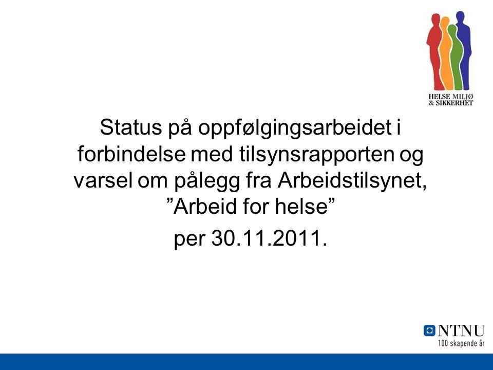 Status på oppfølgingsarbeidet i forbindelse med tilsynsrapporten og varsel om pålegg fra Arbeidstilsynet, Arbeid for helse per 30.11.2011.