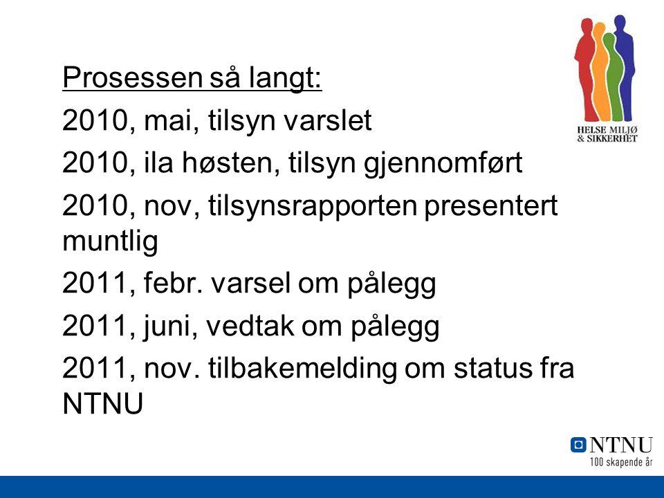 Prosessen så langt: 2010, mai, tilsyn varslet 2010, ila høsten, tilsyn gjennomført 2010, nov, tilsynsrapporten presentert muntlig 2011, febr.