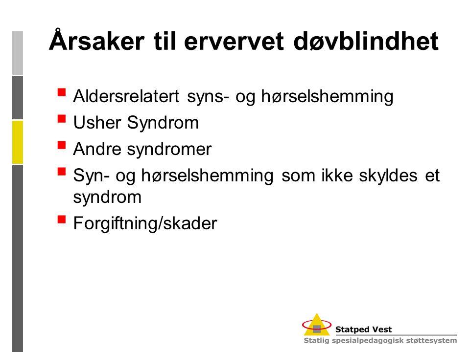 Årsaker til ervervet døvblindhet  Aldersrelatert syns- og hørselshemming  Usher Syndrom  Andre syndromer  Syn- og hørselshemming som ikke skyldes