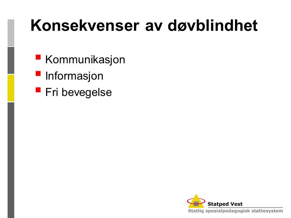 Konsekvenser av døvblindhet  Kommunikasjon  Informasjon  Fri bevegelse