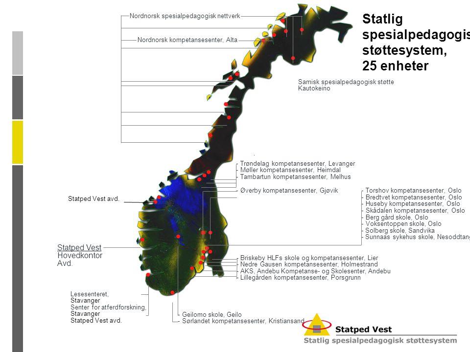 Statlig spesialpedagogisk støttesystem, 25 enheter Nordnorsk spesialpedagogisk nettverk Nordnorsk kompetansesenter, Alta - Øverby kompetansesenter, Gj
