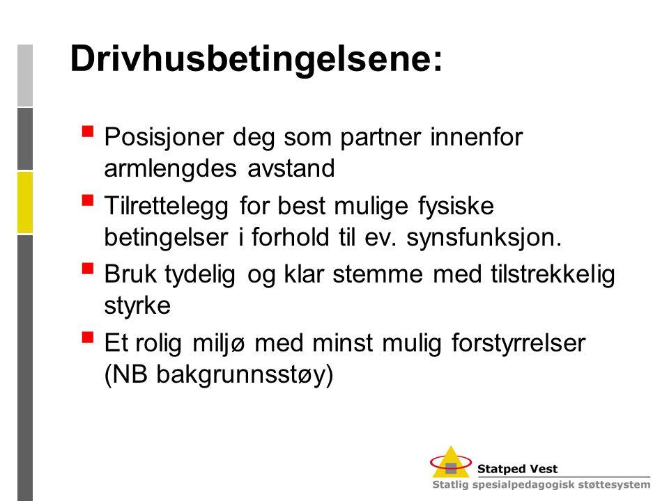 Drivhusbetingelsene:  Posisjoner deg som partner innenfor armlengdes avstand  Tilrettelegg for best mulige fysiske betingelser i forhold til ev. syn