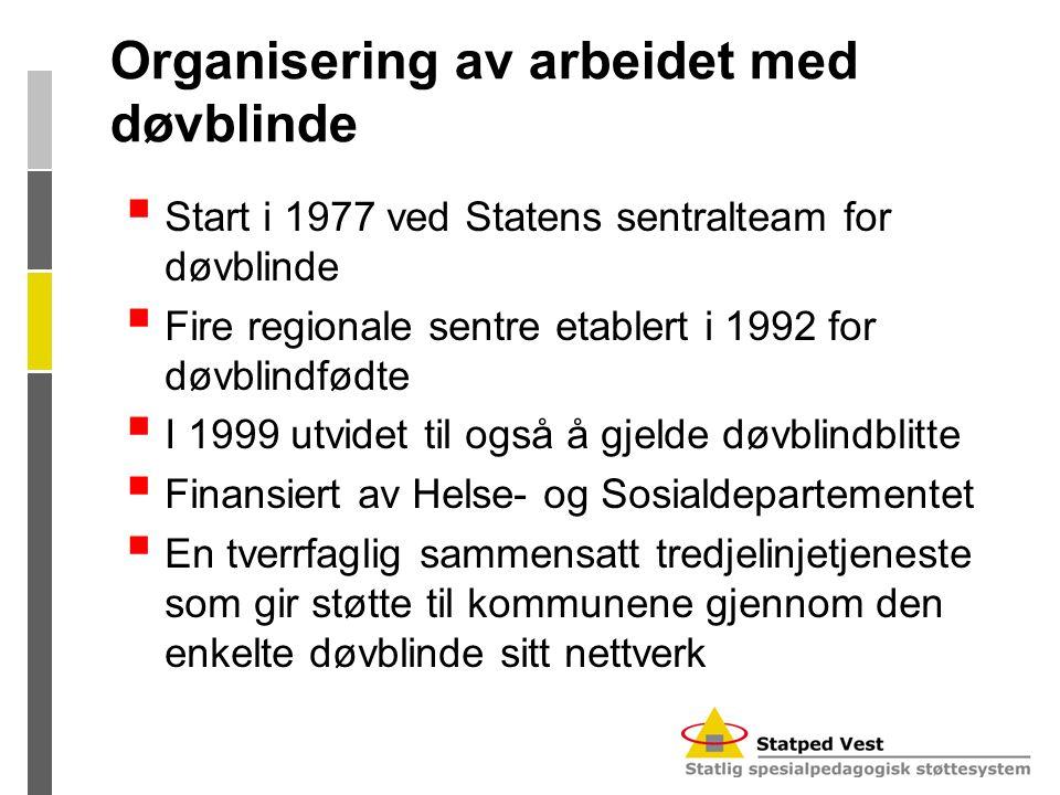 Organisering av arbeidet med døvblinde  Start i 1977 ved Statens sentralteam for døvblinde  Fire regionale sentre etablert i 1992 for døvblindfødte