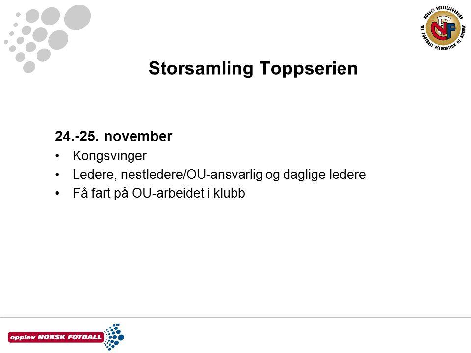 Storsamling Toppserien 24.-25. november Kongsvinger Ledere, nestledere/OU-ansvarlig og daglige ledere Få fart på OU-arbeidet i klubb