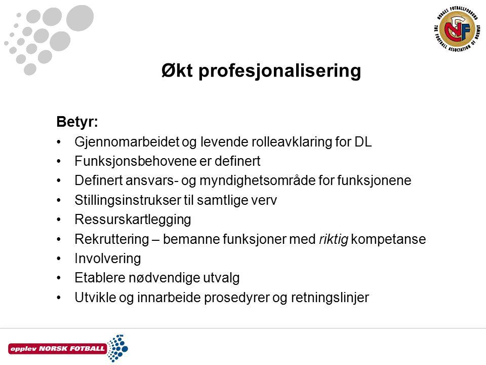 Økt profesjonalisering Betyr: Gjennomarbeidet og levende rolleavklaring for DL Funksjonsbehovene er definert Definert ansvars- og myndighetsområde for