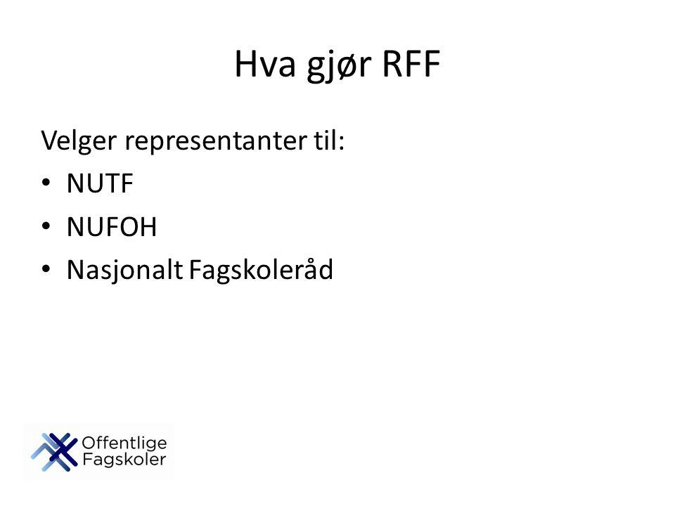 Hva gjør RFF Velger representanter til: NUTF NUFOH Nasjonalt Fagskoleråd