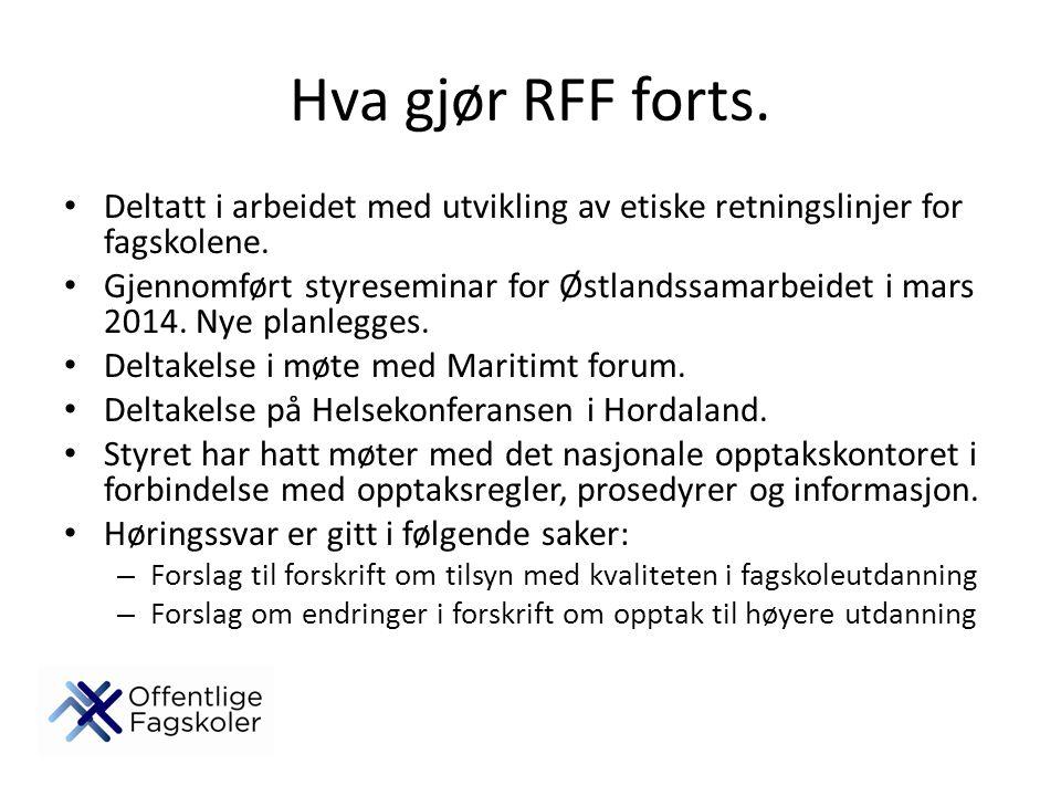 Hva gjør RFF forts. Deltatt i arbeidet med utvikling av etiske retningslinjer for fagskolene. Gjennomført styreseminar for Østlandssamarbeidet i mars