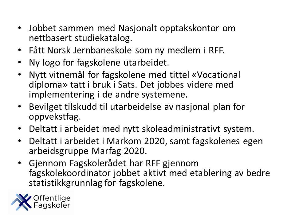 Jobbet sammen med Nasjonalt opptakskontor om nettbasert studiekatalog. Fått Norsk Jernbaneskole som ny medlem i RFF. Ny logo for fagskolene utarbeidet