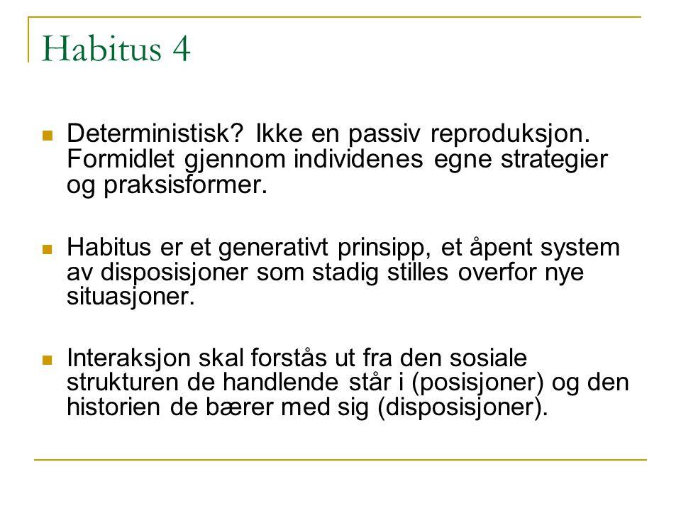 Habitus 4 Deterministisk.Ikke en passiv reproduksjon.