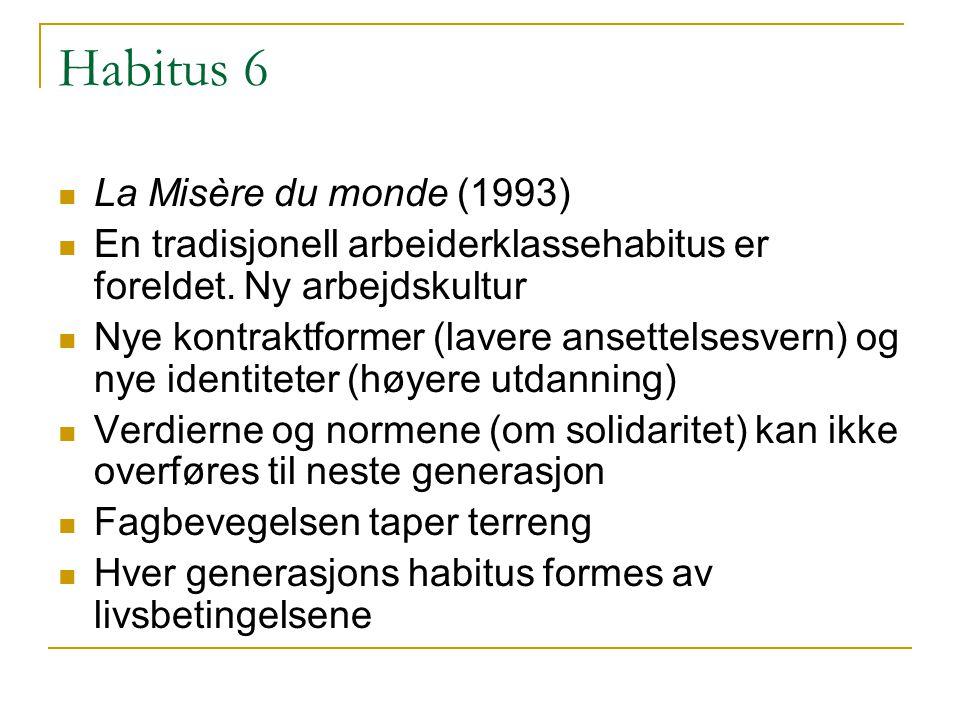 Habitus 6 La Misère du monde (1993) En tradisjonell arbeiderklassehabitus er foreldet.