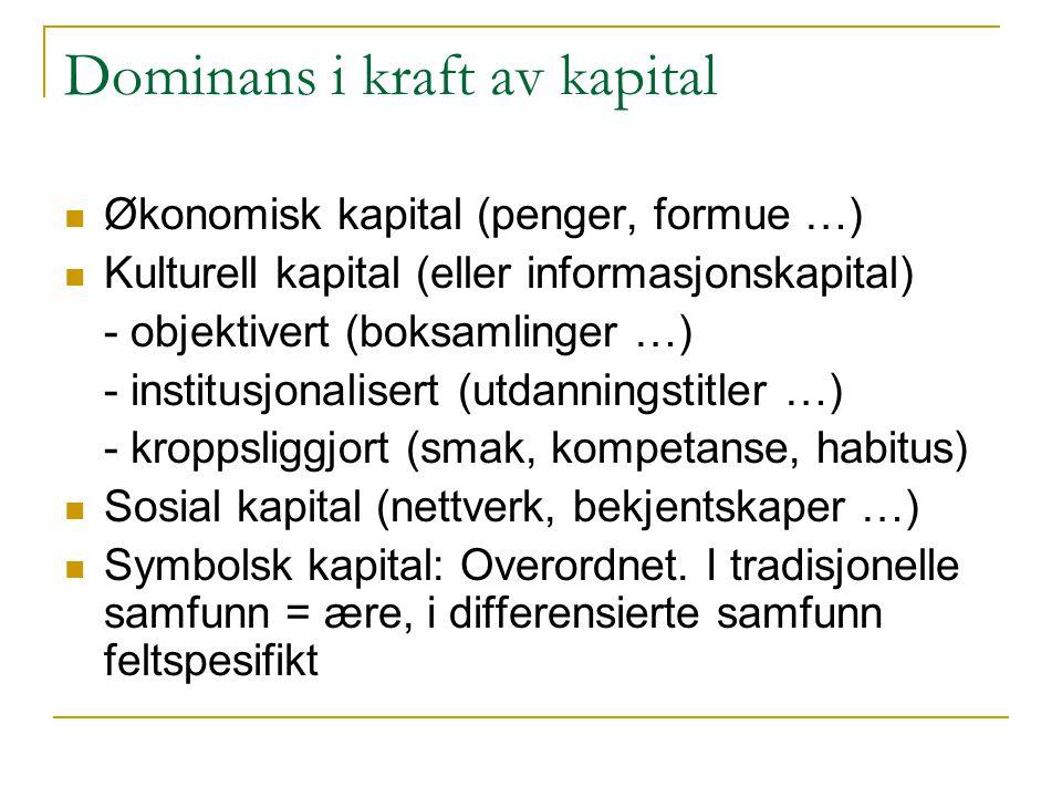 Dominans i kraft av kapital Økonomisk kapital (penger, formue …) Kulturell kapital (eller informasjonskapital) - objektivert (boksamlinger …) - institusjonalisert (utdanningstitler …) - kroppsliggjort (smak, kompetanse, habitus) Sosial kapital (nettverk, bekjentskaper …) Symbolsk kapital: Overordnet.