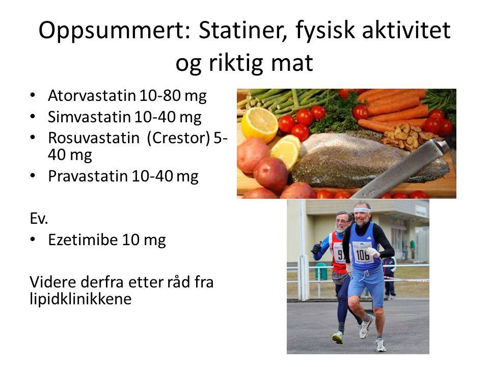 Oppsummert: Statiner, fysisk aktivitet og riktig mat Atorvastatin 10-80 mg Simvastatin 10-40 mg Rosuvastatin (Crestor) 5- 40 mg Pravastatin 10-40 mg Ev.