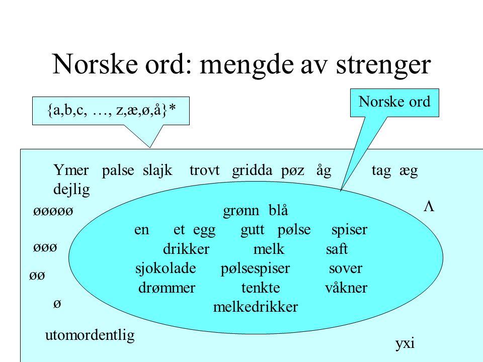 Norske ord: mengde av strenger {a,b,c, …, z,æ,ø,å}* grønn blå en et egg gutt pølse spiser drikker melk saft sjokolade pølsespiser sover drømmer tenkte