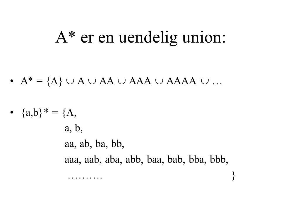 A* er en uendelig union: A* = {  }  A  AA  AAA  AAAA  … {a,b}* = { , a, b, aa, ab, ba, bb, aaa, aab, aba, abb, baa, bab, bba, bbb, ………. }