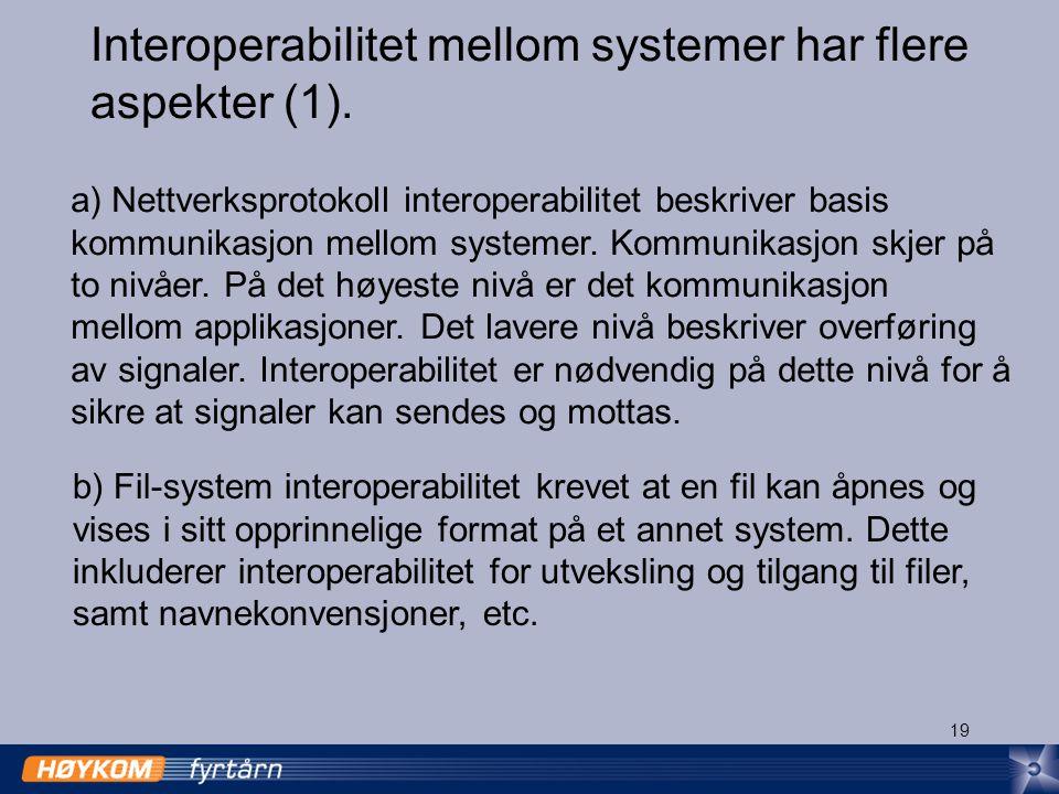 19 Interoperabilitet mellom systemer har flere aspekter (1).
