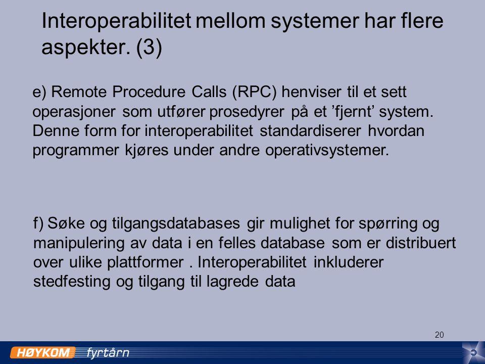 20 Interoperabilitet mellom systemer har flere aspekter.