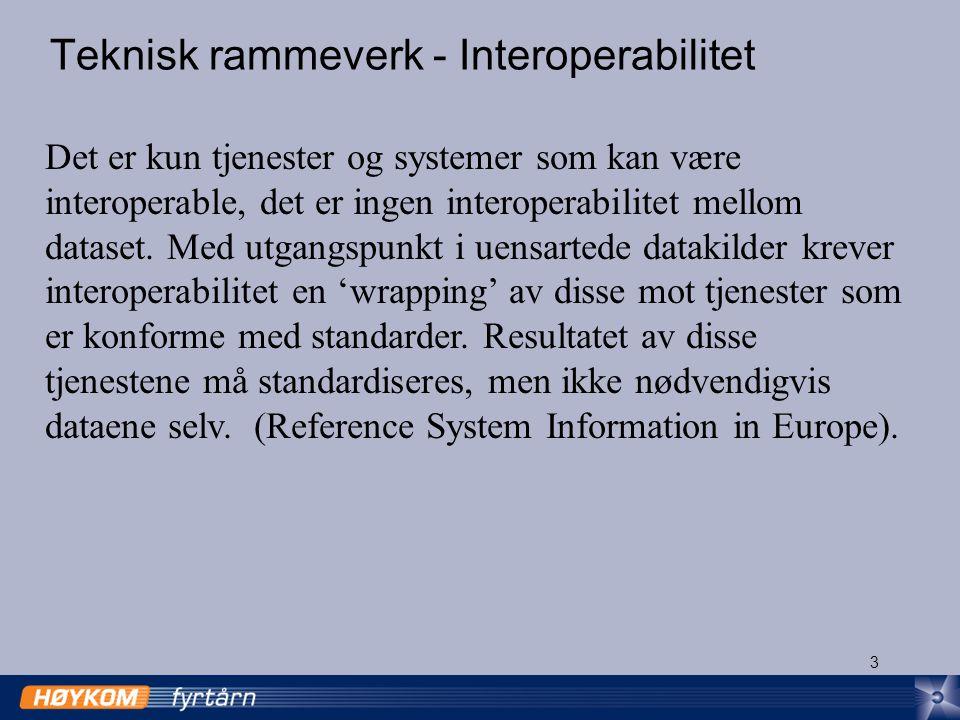 4 Ulike typer interoperabilitet (IS 19119 Services) Interoperabilitet mellom systemer og komponenter har flere aspekter: Nettverksprotokoll interoperabilitet muliggjør kommunikasjon mellom komponenter.
